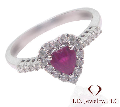 Ruby And Diamond Ring In 18K White Gold -IDJ009620