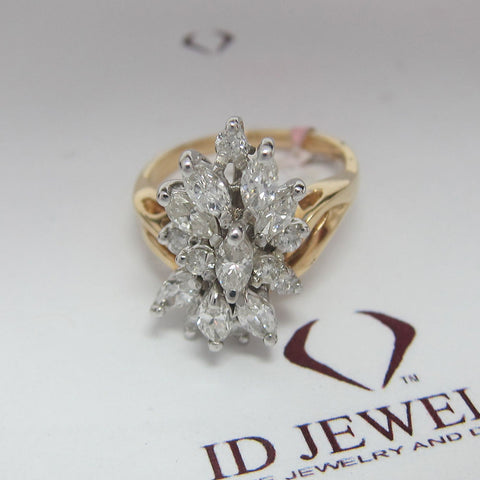 1.50CT Round and Marquise Estate Diamond Ring F SI 14K Yellow Gold -IDJ009659