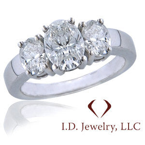 1.50CTW Certified 3 Stone Oval Cut Diamond Engagement Ring -IDJ009755