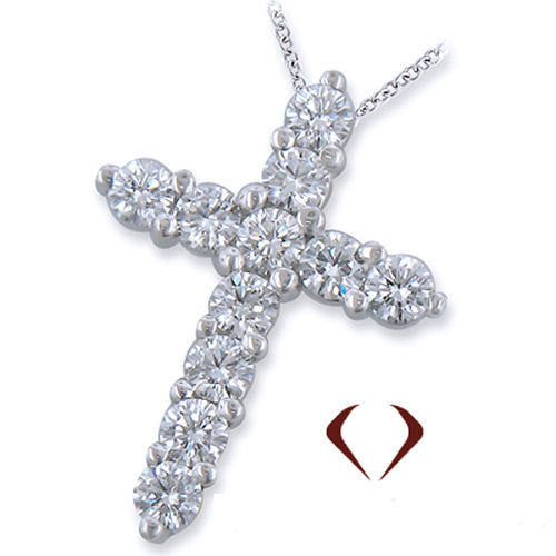 3.05CTW Round Cut Diamond Cross Pendant in 14Kt White Gold with 14K White Gold Chain -IDJ009867
