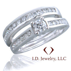 Round Cut Diamond Bridal Ring Set -IDJ010046