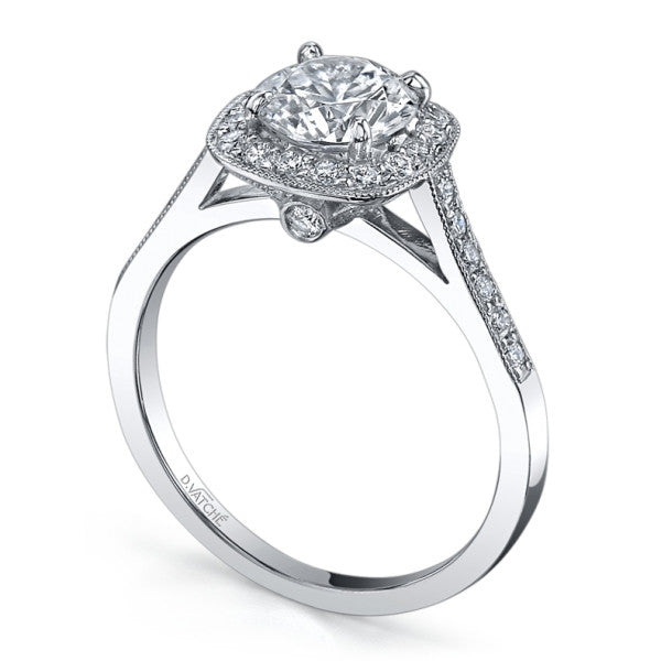 0.31CT VATCH Diamond Engagement Ring Setting For 1CT Center Stone In Platinum -IDJ010054