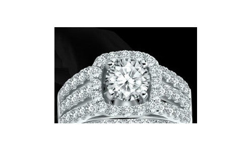 Caro Three-Row 0.93CT Halo Diamond Engagement Ring setting In 14K White Gold -IDJ010234