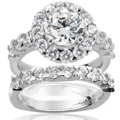 Caro 74 1.53CT Diamond Halo Engagement Ring Setting With Matching Wedding Band In 14K White Gold- IDJ010236
