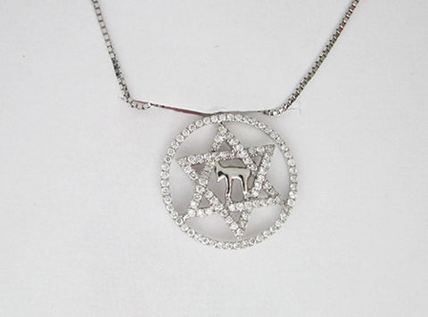 0.17CT 18KT White Gold Star of David in Circle Diamond Pendant -IDJ010623