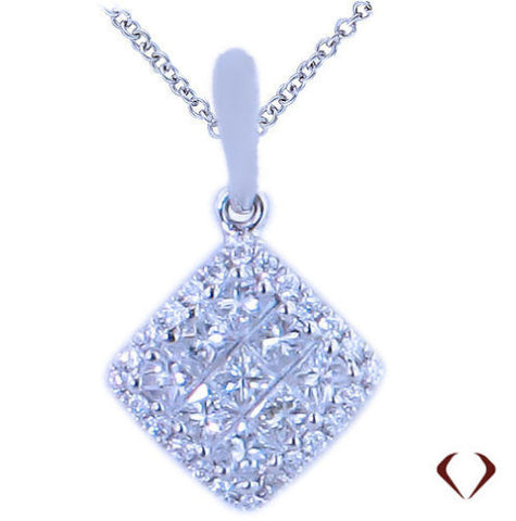 0.35CT Princess Cut Diamond Cluster Pendant F SI 18K -IDJ010965