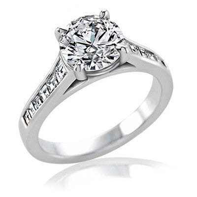 Vatche 0.45CT Round and Baguette Channel Set Diamond Ring In 18K White Gold - IDJ011030