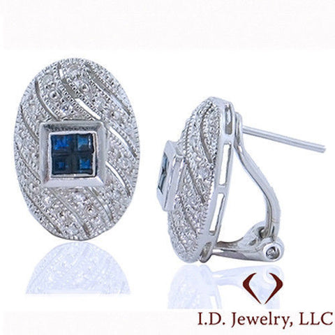 0.76CTW Sapphire and Diamond Earrings 18K -idj011117