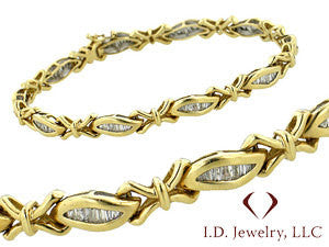 1.42CT Channel Set Baguette Cut Diamond Bracelet In 14K Yellow Gold -IDJ011126