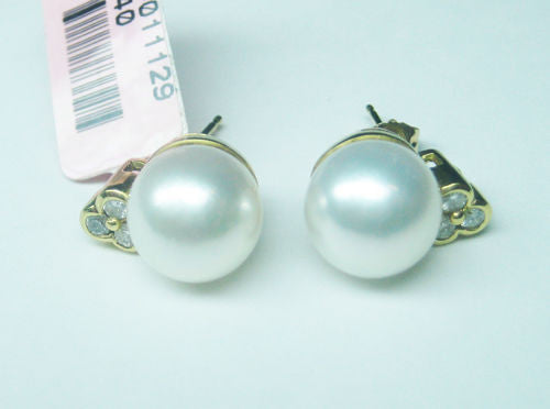 0.21CT Diamond and Pearl Earrings 18K Yellow Gold -IDJ011129