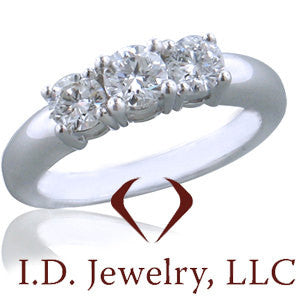Round Cut 3 Stone Diamond Engagement Ring in 14K White Gold -IDJ011146