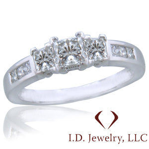 Princess Cut 3 Stones Diamond Engagement Ring in 14KT White Gold -IDJ011154