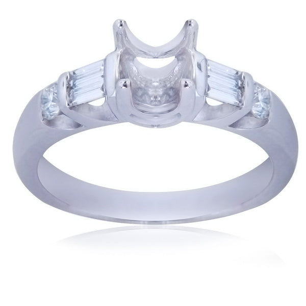 0.41ct F-G SI1 Round And Baguette Cut Diamond Prong Setting 18K White Gold -IDJ011178