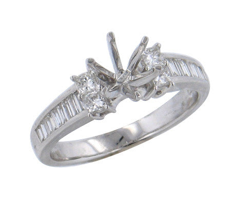 0.51ct Baguette & Princess Cut Diamond In Prong Setting 18K White Gold -IDJ011220