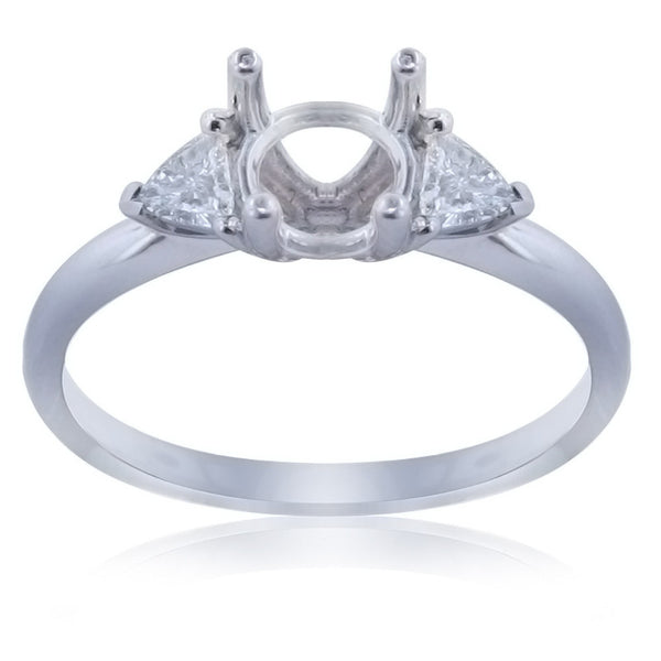 0.24CT Side Trillion Diamond Engagement Ring Setting In 18K White Gold - IDJ011223