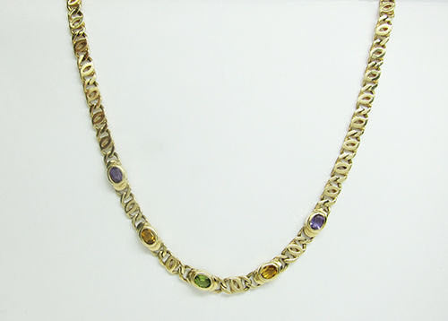 14K Yellow Gold Necklace with Amethyst, Citrine and Peridot -IDJ011268