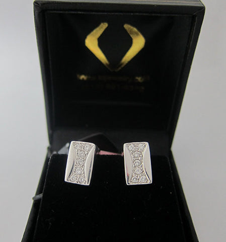 0.3 CT Diamond Huggie Center Earrings 14K White Gold -IDJ011282