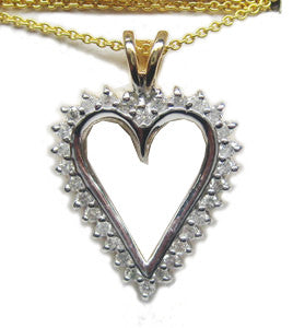 0.50CT F SI Heart Shape Diamond Pendant In 14K White Gold, 14K Yellow Gold Chain INCLUDED - IDJ011349