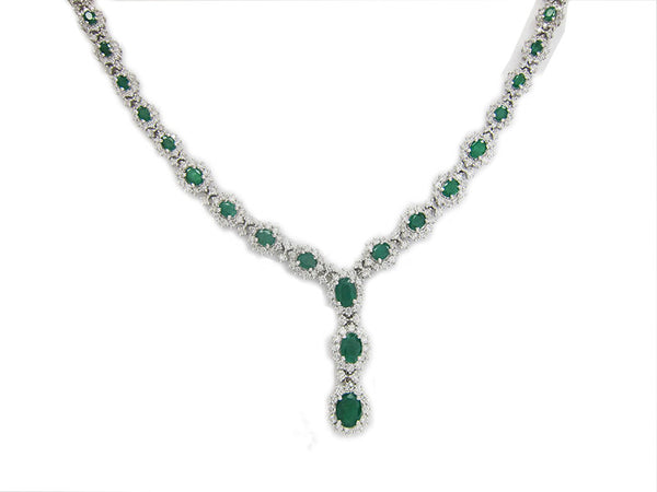 12.75CT Emerald and Diamond Necklace F SI in 18K White Gold -IDJ011389