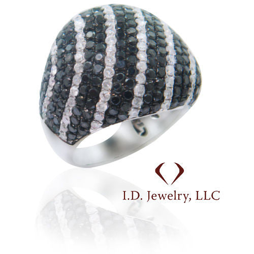 5.95CTW Black And White Diamond Ring F SI 18K White Gold - IDJ011397