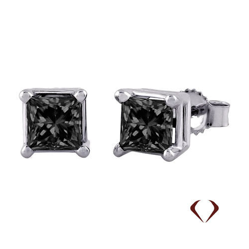 0.75CT Princess Cut Black Diamond Stud Earrings 14K -IDJ011503