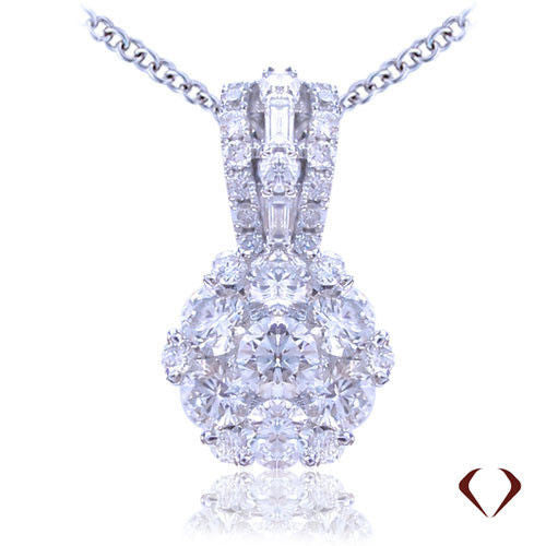 1.00CT Cluster Diamond Pendant F VS In 18K White Gold With Chain -IDJ011644