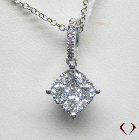 0.30CT Diamond Cluster Pendant F VS In 18K White Gold With 14K White Gold Chain - IDJ011687