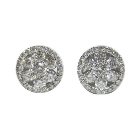 0.84CTW Diamond Flower Earrings in Halo F VS 18K White Gold - IDJ011691