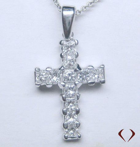 1.00CT Princess Cut Diamond Cross Pendant F VS 14K -IDJ011923