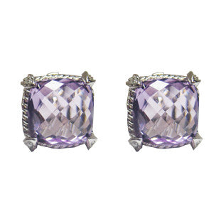 11.48CTW Amethyst and Diamond Earrings F SI 18K -IDJ011943