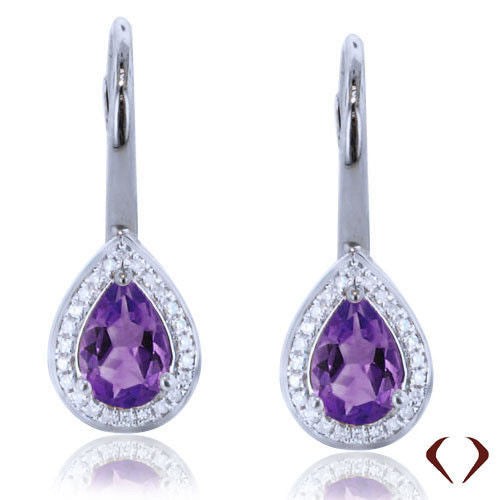 1.32CTW Amethyst and Diamond Earrings F SI 18K -IDJ011947