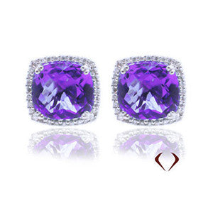 10.90CTW Amethyst and Diamond Earrings F SI In 18K White Gold - IDJ011950