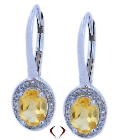 1.40CTW Yellow Citrine & Diamond Earrings F SI In 18K White Gold - IDJ011952