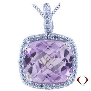 6.94CTW Round Cut Diamond And Purple Amethyst Pendant in 18KT White Gold -IDJ011954