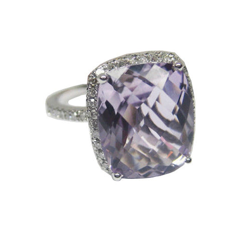 2.87CT Purple Amethyst and Diamond Ring F SI 18K - IDJ011958