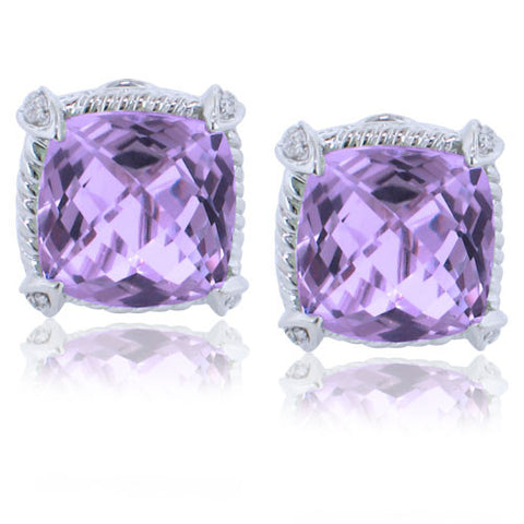 11.59CTW Amethyst and Diamond Earrings F SI 18K - IDJ011978