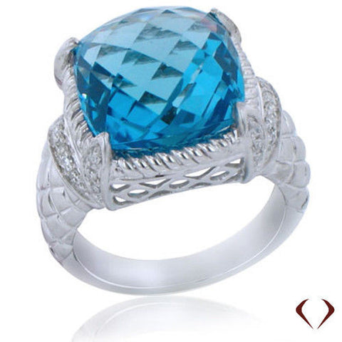 12.79CT Blue Topaz and Diamond Ring F SI 18K -IDJ011980
