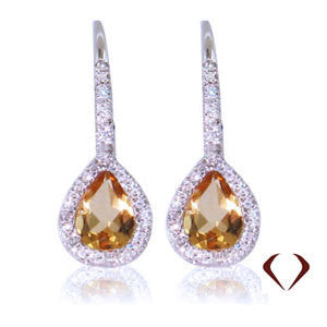 1.24CTW Yellow Citrine & Diamond Earrings F SI 18K -IDJ011981