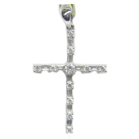0.61CT Diamond Cross Pendant F SI 18K -IDJ012040