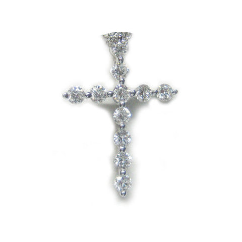 0.56CT Round Cut Diamond Cross Pendant F SI 18K -IDJ012081