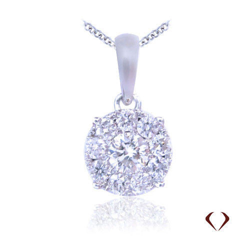 0.50CT Diamond Cluster Pendant F SI1 In 14K White Gold With 14K White Gold Chain -IDJ012094