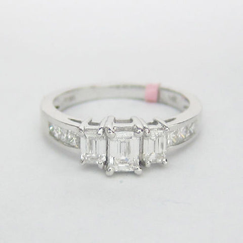 1.25 CT Emerald Cut 3 Stone Diamond Ring F SI1 14K White Gold -IDJ012106