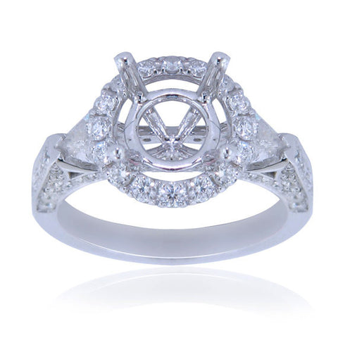 0.98CT Diamond Halo and Side Trillion Engagement Ring Setting In 18K White Gold - IDJ012137
