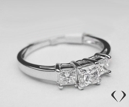 1.00CT Princess Cut 3 Stone Diamond Ring F SI 14K White Gold -IDJ012360