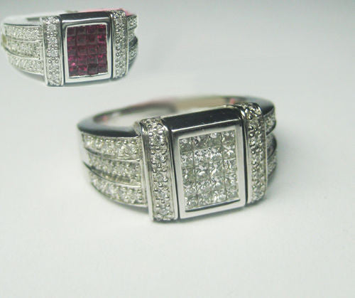 1.00CT Diamond and Ruby Reversible Ring in 14K White Gold -IDJ012392