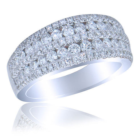 1.80CT F SI Round Cut 7 Row Diamond Band 18K White Gold -IDJ012415