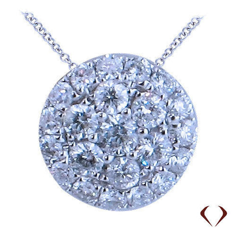 1.33CT Cluster DIamond Pendant F SI1 14K with Diamond By The Yard Necklace -IDJ012498