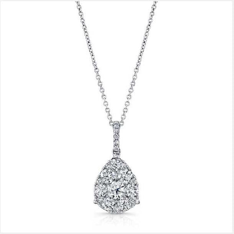 0.98CT Tear Drop Diamond Pendant F SI1 In 18K White Gold With 14K White Gold Chain - IDJ012519