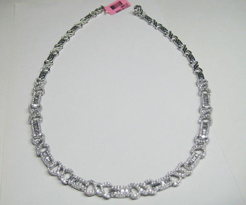 5.98CT F VS Round & Baguette Diamond Necklace 18KT - IDJ012606