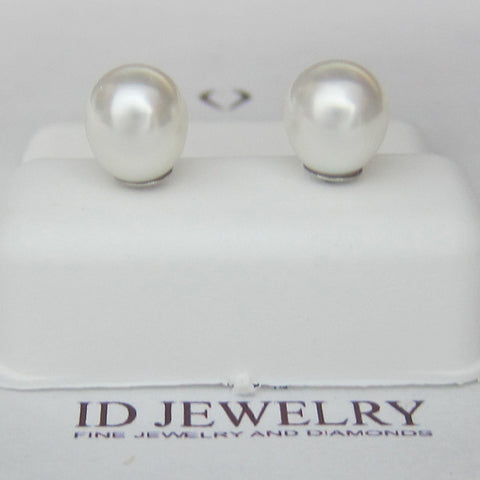 Pearl Earrings In 14K White Gold -IDJ012733